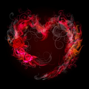 Flaming heart shape