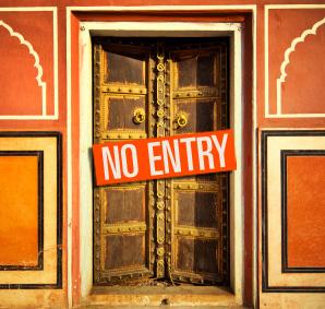 No Entry sign across doorway